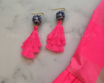 Tiered Tassel Earrings | HOT PINK, NEON Pink, stacked, blue and white, gold, chinoiserie, statement earrings, Laurel Leigh