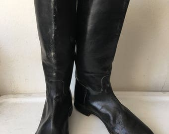 Vintage black long boots man size 43 EU.