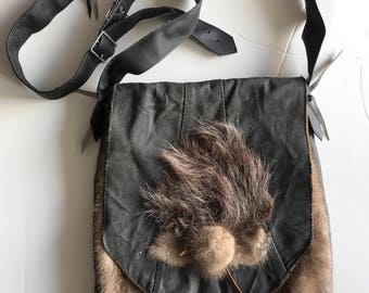Fur bag crossbody bag real mink fur and leather, vintage bag designer bag handmade stylish bag fashionable women's grey bag has size-medium.