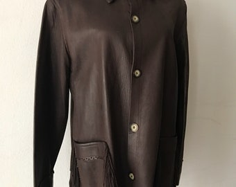 Brown vintage fringe leather jacket women's size medium .