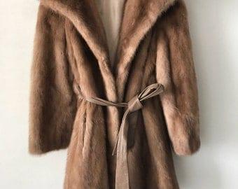 Vintage mink fur coat woman size small .