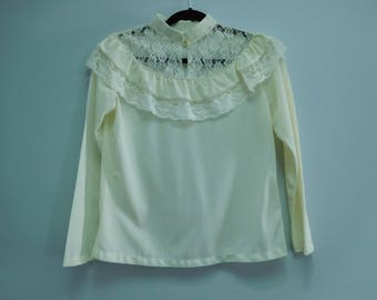Vintage Cream Color Victorian Blouse with White Lace Neckline Size Medium