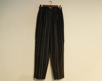 Vintage Retro High Waist Black with White Pinstripe Pants By Daisy Ind. Size 11/12