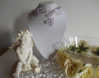 Aluminum purple spiral arabesque wedding necklace