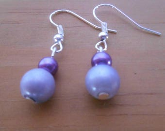 Simple purple and purple wedding earrings