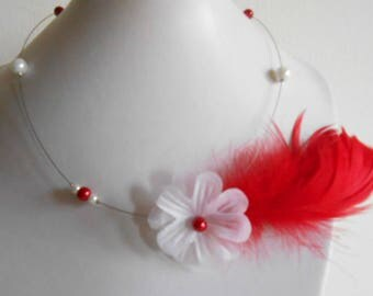 Wedding sensuality Red Feather necklace