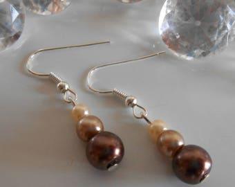 Wedding trend earrings brown beige and cream