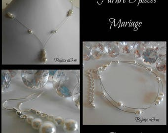 Set of 3 wedding white pearls cascade pieces