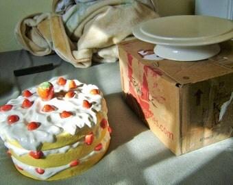 The Original 1980's Strawberry Short Cake Dessert Cover and Pedestal Plate