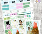 Hawaii Aloha weekly Kit Tropical Hula Girl Stickers Weekly Planner Kit Erin Condre Life Planner Happy Planner