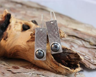 Eye Catching Sterling Silver Earrings with Chyrsocolla Stones (123117-005)
