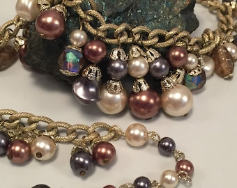 Vintage Fancy Multi-Color Simulated Pearl Beaded Choker Necklace.