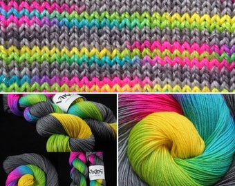 Dyed to Order - Hand Dyed Yarn - Hand Dyed Sock Yarn - in 'Broken Rainbow'