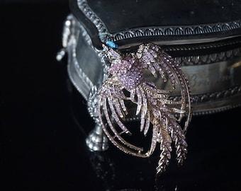 Pink crystal rhinestone wings of the Phoenix Bird Brooch Pin Brooch