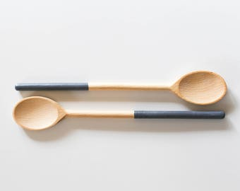 Wooden Utensil Dipped- CHARCOAL | Wooden Spoons | Dipped Spoons | Set of Spoons | Beechwood | Grey Spoon | Annabelle Taylor Co | Portland OR