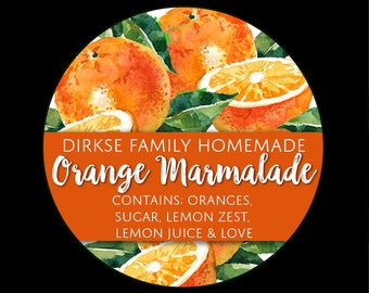 Customized Label for Orange Marmalade - Watercolor Style Canning Jar Label - Wide Mouth & Regular Mouth - Watercolor Orange Canning Label