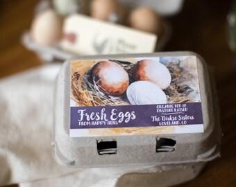 Custom Egg Carton Labels - Watercolor Style - Pasture Raised - Happy Hens - Fresh Eggs - Customizable for your Farm - Half Dozen Cartons