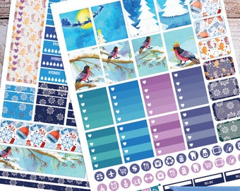 Winter, birds, Snow, Printable Planner Stickers, Weekly Kit for use with Erin Condren LifePlanner, Filofax, Plum Paper, Scrapbooking