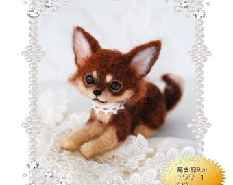 Realistic Felt Wool Chihuahua Dog - Chiwawa Kit By Miriis Collection - Needle Felting Kit Feutre Kit