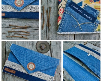 Denim bag, Denim envelope , Handmade clutch, Handmade Utopia , Patchwork bag