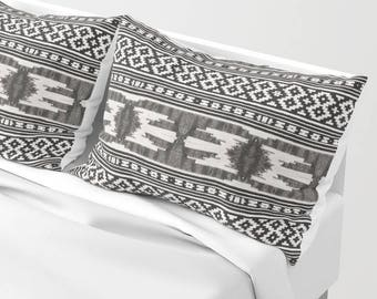 Tribal Pillow Sham Set, Bed Sham, Boho Decor Gypsy Vibe, Black White Bedroom, Standard Sham, King Sham, Aztec Pillow Cases, Bohemian Bedding