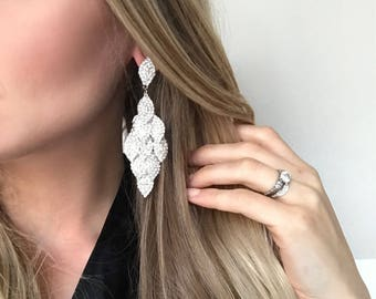 Carrie Clear Crystal NPC Bikini Fitness Competition Earrings