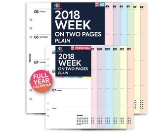 PRINTED 2018 Week on two pages Insert A5 / Personal Filofax A5 Kikki.K Large Compatible Refill Coloured WO2P