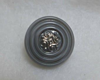 5 Czech glass buttons - gray - 18mm