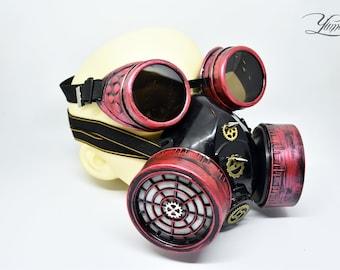 Red Steampunk Respirator Mask | Cyberpunk gas mask | Burning Man Mask | Cyberpunk respirator | Cyber goth mask | Halloween mask