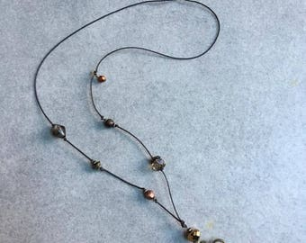 Bohemian bronze asymmetrical necklace - Lili and my * Creations
