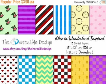 OFF SALE Alice in Wonderland Inspired digital paper pack for scrapbooking, Making Cards, Tags and Invitations, Instant Download