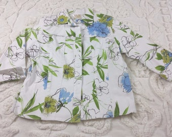 Lilly of CA Womens Jacket Asian Floral Watercolor 3/4 Sleeve 80s 1980 Vtg Sz S