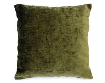 Olive Chenille Throw Pillow, Decorative Pillow, Accent Pillow, Contemporary Pillow, 18 x 18 Pillow, Green Pillow