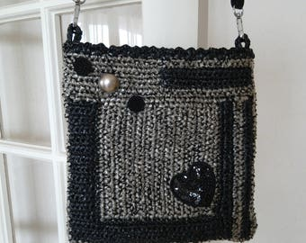 Large Heather grey shoulder bag clouded translucent / cotton black and gold, black Rhinestone Heart buttons