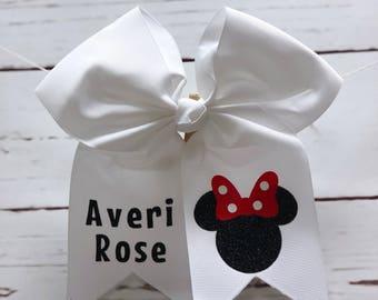 Minnie Mouse Hair Bow, Personalized Hair Bow, Accessories, Disney Hair Bow, Custom bow, Birthday Bow, Disney Bow, Cheerleading Bow, Hair bow
