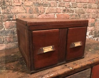 Antique Oak 1930s Illinois Central Railroad 2-Drawer Desktop Filer