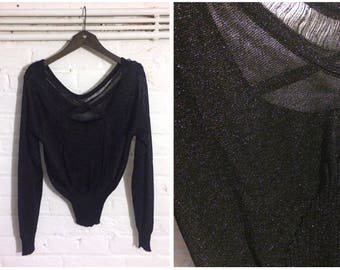 1970s vintage black lurex glitter jersey knit t-shit top with open back / straps details - UK 10 EU 38 US 8 - Glam Metallic Seventies