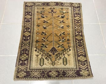 "Turkish small rug, Oushak rug, Area rug, 3'3"" x 2'4"" Rugs, anatolian rug, bohemian rug, Turkish carpet, Floor rugs, Carpet, Naturel color"