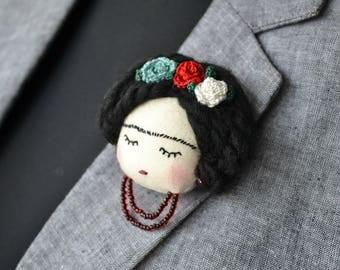 Frida Kahlo Brooch,  Frida Kahlo Pin-Unique Frida Kahlo Jewelry-Frida Kahlo Gift-Mexican Artist-Unique Gift Frida Kahlo