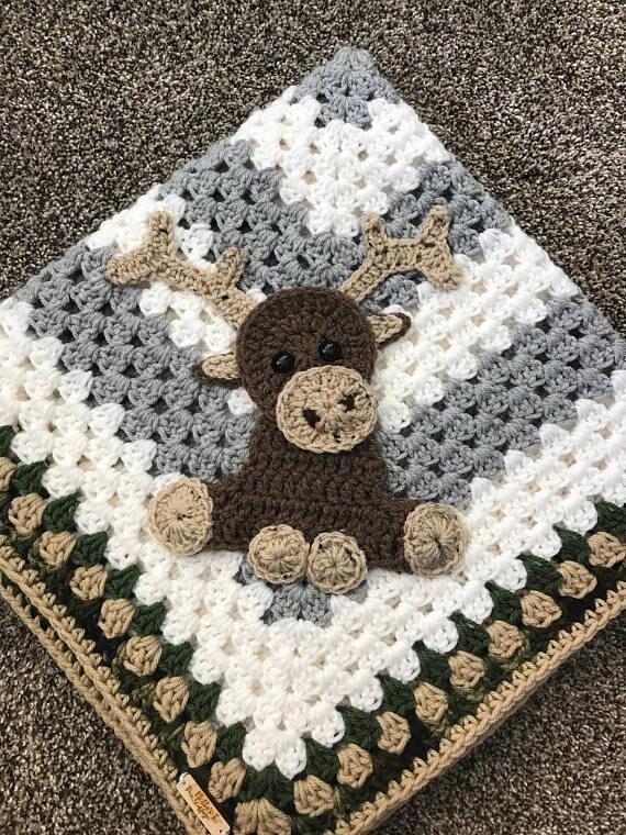 Baby Moose Crochet Applique Pattern Instant Pdf Download