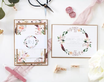 Robert + Julie Sample Invite Suite   Boho Wedding Invitation   Floral Wreath Wedding Suite   Sample Set   Wedding Stationery, Invitation Set