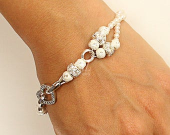 Unique Freshwater Pearl Two Strand Bracelet with Sterling Silver and Rhinestone Beads fastened with a Sterling Silver Heart Clasp