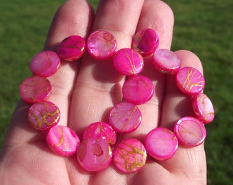 4 ROUND SHELL BEADS PINK 12 X 4 MM.