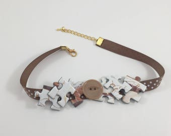 Modern choker necklace girlfriend gift, Statement necklace choker gift for her, Handmade jewelry choker gift idea