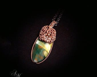 Copper pendant wire wrap Agate necklace Agate jewelry wire wrapped jewelry copper necklace jewelry handmade necklace wire jewelry