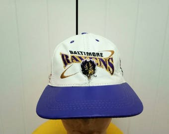 Rare Vintage BALTIMORE RAVENS Big Logo Genuine Leather Made In USA Cap Hat One size Fit All