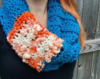 Chunky, Soft Handspun Yarn Infinity Scarf, Crochet Long Circle Scarf, Colorful Fall Accessories, Blue / Red / Orange / Yellow