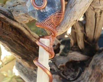 Blue calcite and selnite copper wire wrap pendent