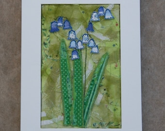 Bluebells in Spring Textile Wall Art Unique and Handmade