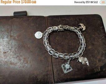 ON SALE Vintage Sterling Silver Charm Bracelet